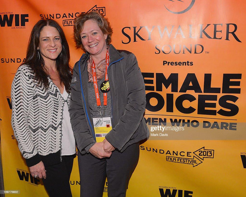 Cathy Schulman, President, Women In Film and Director Documentary Film Program Sundance Film Festival, Cara Mertes attend the Women In Film's Sundance Filmmakers Panel presented by Skywalker Sound on January 20, 2013 in Park City, Utah.