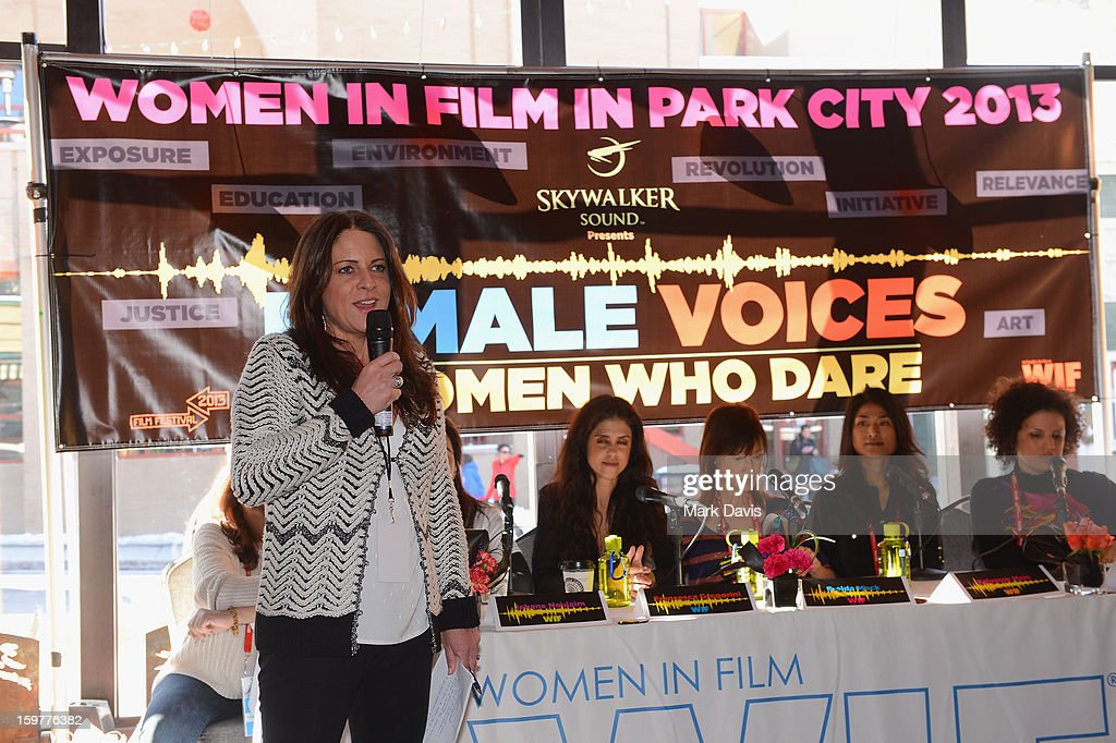 <a gi-track='captionPersonalityLinkClicked' href=/galleries/search?phrase=Cathy+Schulman&family=editorial&specificpeople=677977 ng-click='$event.stopPropagation()'>Cathy Schulman</a>, President, Women In Film speaks with filmmaker panelists Tia Lessin, <a gi-track='captionPersonalityLinkClicked' href=/galleries/search?phrase=Jehane+Noujaim&family=editorial&specificpeople=234830 ng-click='$event.stopPropagation()'>Jehane Noujaim</a>, Freida Mock and Michele Stephenson speak during the Women In Film's Sundance Filmmakers Panel presented by Skywalker Sound on January 20, 2013 in Park City, Utah.