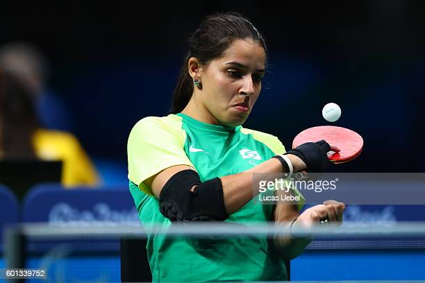 Catia Cristina da Silva Oliveira of Brazil competes in the women's singles Table Tennis Class 2 on day 2 of the Rio 2016 Paralympic Games at...