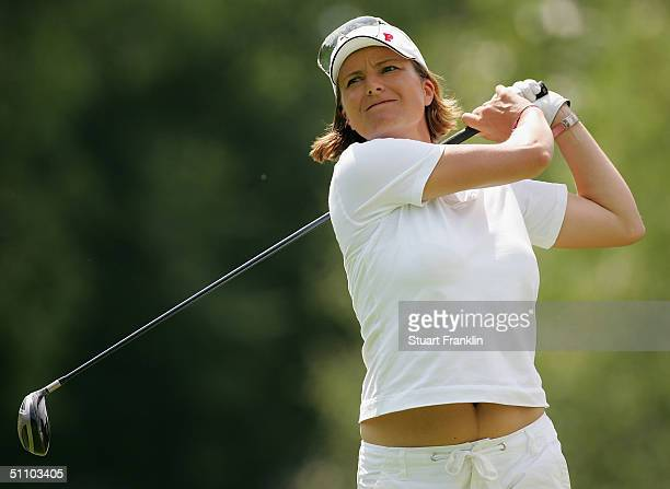 Catrin Nilsmark of Sweden plays her tee shot on the 13th hole during the first round at The Evian Masters on July 21 2004 at Evian Golf Club in Evian...