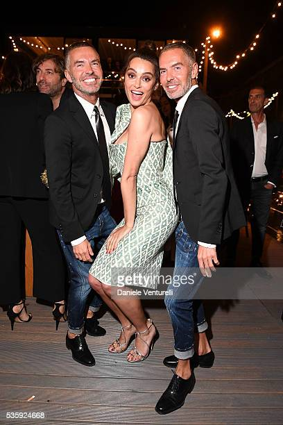 Catrinel Marlon Dean and Dan Caten attend Dsquared2 Dinner Party on May 30 2016 in Rome Italy