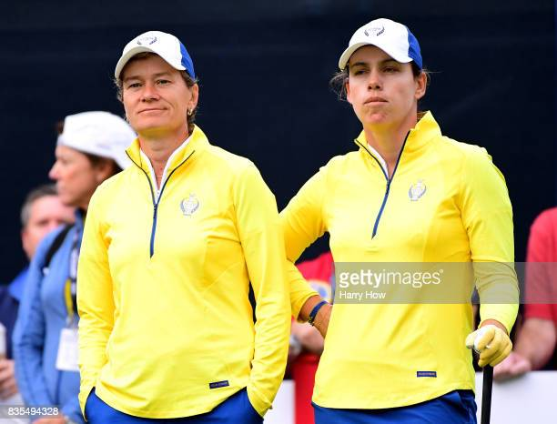 Catriona Matthew and Karine Icher of Team Europe wait to play on the first tee during the morning foursomes matches of the Solheim Cup at the Des...