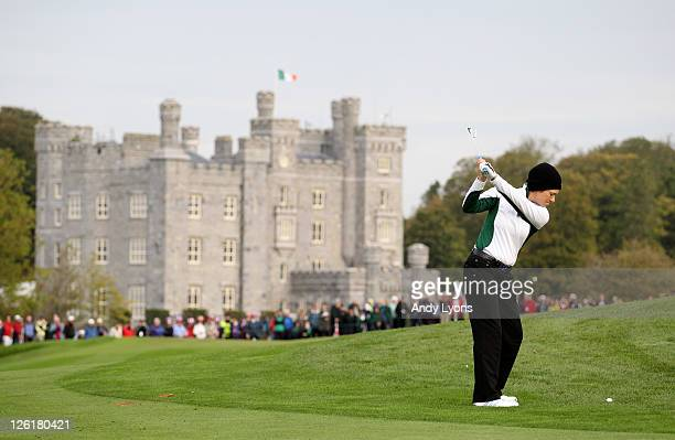 Catriona Matthew of Europe hits her 2nd shot on the 3rd hole during the morning foursomes on day one of the 2011 Solheim Cup at Killeen Castle Golf...