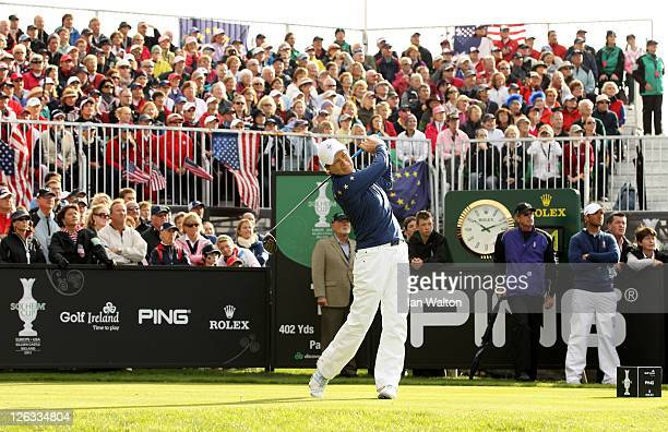 Catriona Matthew of Europe tees off on the 1st hole during the singles matches on day three of the 2011 Solheim Cup at Killeen Castle Golf Club on...