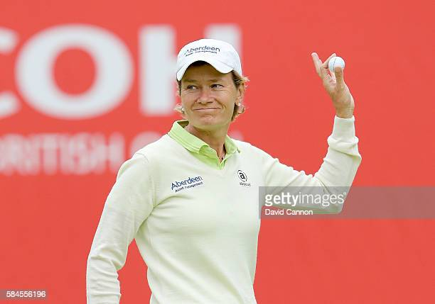 Catriona Matthew of Scotland acknowledges the crowds on the 18th hole during the second round of the 2016 Ricoh Women's British Open on July 29 2016...