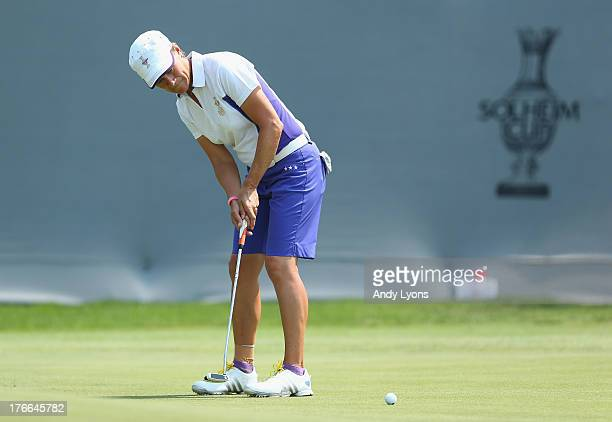 Catriona Matthew of Scotland and the European Solheim Cup putts on the 16th hole during the friday foursomes matches at 2013 Solheim Cup at the...