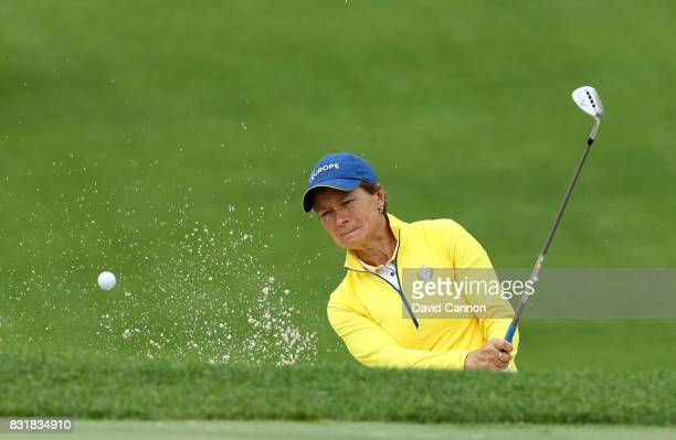 Catriona Matthew of Scotland and the European Team assistant captain in action during practice for the 2017 Solheim Cup Matches at Des Moines Country...