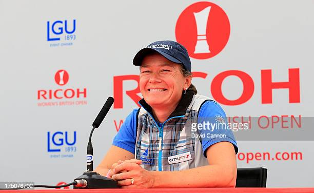 Catriona Matthew of Scotland attends a media conference during final practice as a preview for the 2013 Ricoh Women's British Open on the Old Course...