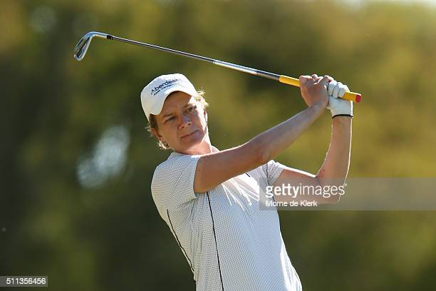 Catriona Matthew of Scotland competes during day three of the ISPS Handa Women's Australian Open at The Grange GC on February 20 2016 in Adelaide...