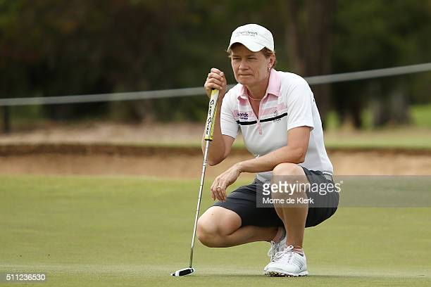 Catriona Matthew of Scotland competes during day two of the ISPS Handa Women's Australian Open at The Grange GC on February 19 2016 in Adelaide...