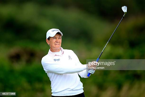 Catriona Matthew of Scotland hits her 3rd shot on the 12th hole during the First Round of the Ricoh Women's British Open at Turnberry Golf Club on...