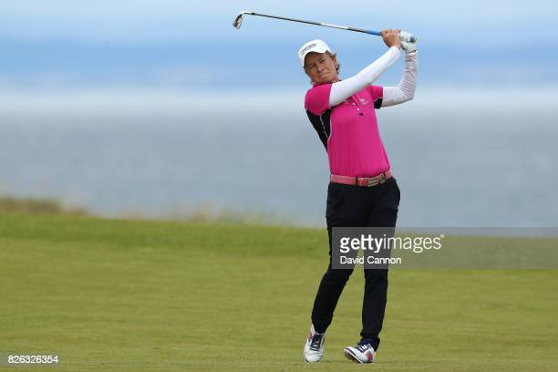 Catriona Matthew of Scotland hits her second shot on the 4th hole during the second round of the Ricoh Women's British Open at Kingsbarns Golf Links...