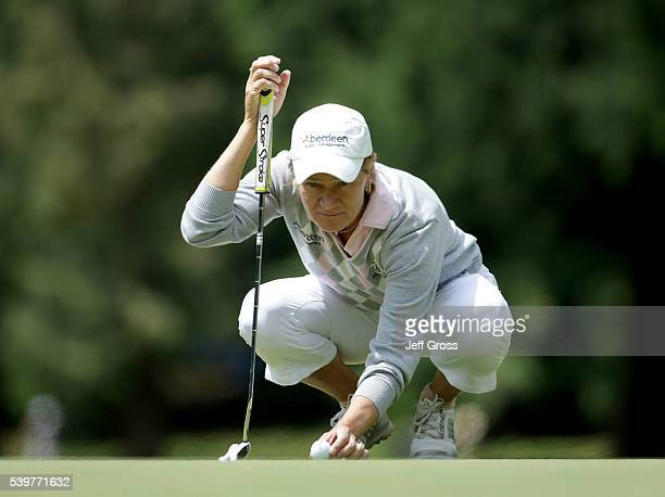 Catriona Matthew of Scotland lines up a putt during the final round of the KPMG Women's PGA Championship at Sahalee Country Club on June 12 2016 in...