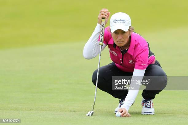 Catriona Matthew of Scotland lines up a putt on the 18th green during the second round of the Ricoh Women's British Open at Kingsbarns Golf Links on...