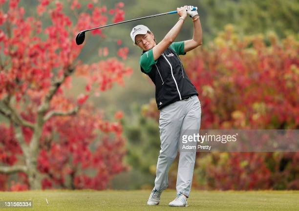Catriona Matthew of Scotland plays a shot during the final round of the Mizuno Classic at Kintetsu Kashikojima Country Club on November 6 2011 in...