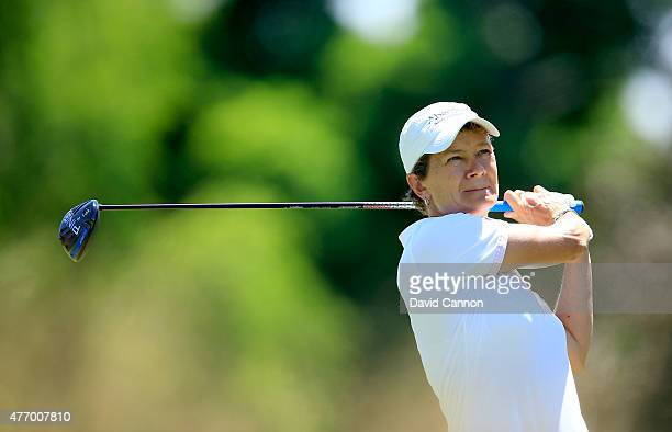 Catriona Matthew of Scotland plays her tee shot on the par 4 2nd hole during the third round of the 2015 KPMG Women's PGA Championship on the West...