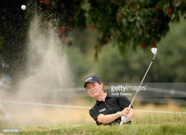 Catriona Matthew of Scotland plays out of a bunker during the second round of the ISPS Handa Women's Australian Open at The Victoria Golf Club on...