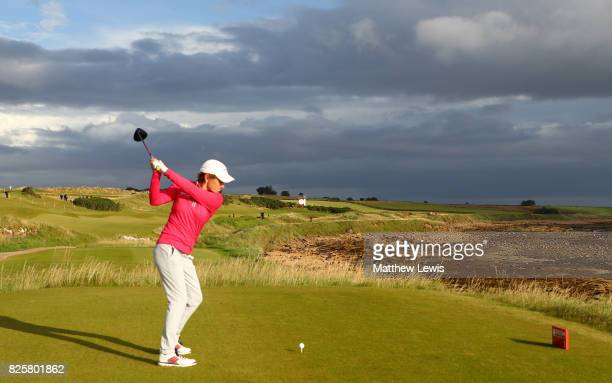 Catriona Matthew of Scotland tees off on the 2nd hole during the first round of the Ricoh Women's British Open at Kingsbarns Golf Links on August 3...