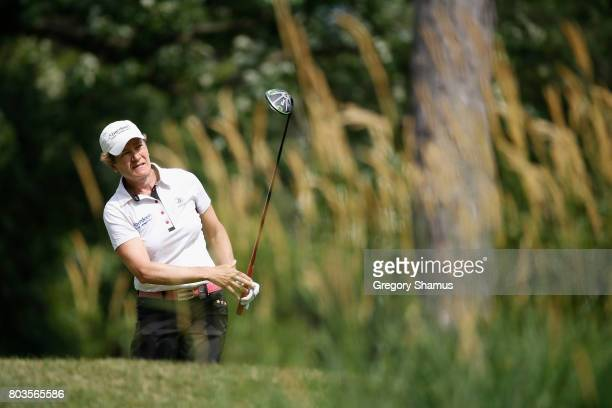 Catriona Matthew of Scotland watches her tee shot on the 16th hole during the first round of the 2017 KPMG PGA Championship at Olympia Fields Country...