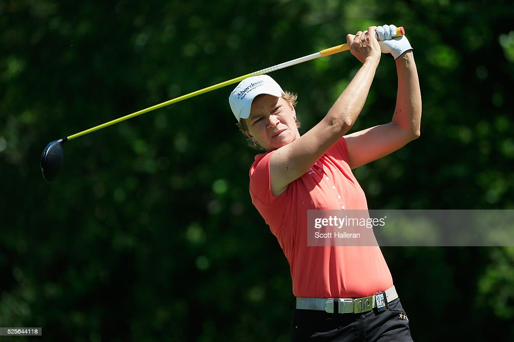 Catriona Matthew of Scotlland hits her tee shot on the seventh hole during the first round of the Volunteers of America Texas Shootout at Las Colinas Country Club on April 28, 2016 in Irving, Texas.