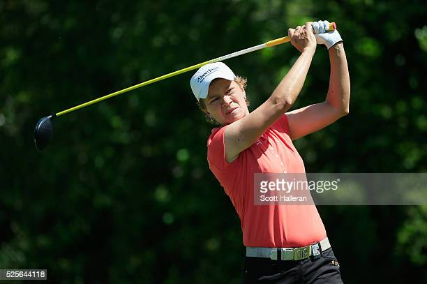 Catriona Matthew of Scotlland hits her tee shot on the seventh hole during the first round of the Volunteers of America Texas Shootout at Las Colinas...