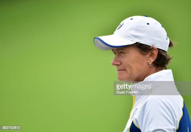 Catriona Matthew of Team Europe ponders during practice for The Solheim Cup at the Des Moines Country Club on August 16 2017 in West Des Moines Iowa
