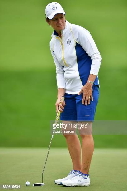 Catriona Matthew of Team Europe putts during practice for The Solheim Cup at the Des Moines Country Club on August 16 2017 in West Des Moines Iowa