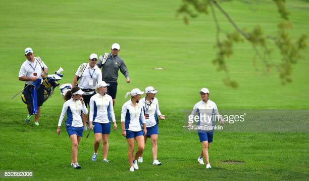 Catriona Matthew of Team Europe walks with her teamates during practice for The Solheim Cup at the Des Moines Country Club on August 16 2017 in West...