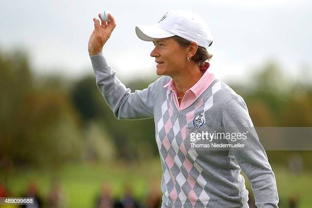 Catriona Matthew of the European Team celebrates during the morning foursomes matches in the 2015 Solheim Cup match at St LeonRot Golf Club on...