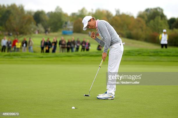 Catriona Matthew of the European Team putts during the morning foursomes matches in the 2015 Solheim Cup match at St LeonRot Golf Club on September...