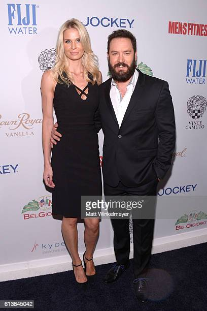 Catriona McGinn and actor MarkPaul Gosselaar attend the Men's Fitness Game Changers Celebration at Sunset Tower Hotel on October 10 2016 in West...