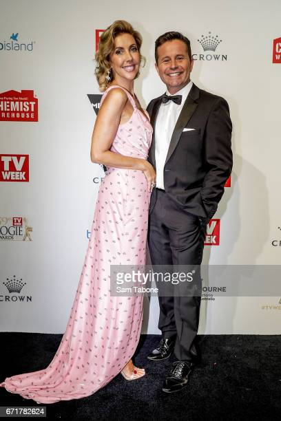 Catriona Rowntree and Steven Jacobs arrives at the 59th Annual Logie Awards at Crown Palladium on April 23 2017 in Melbourne Australia