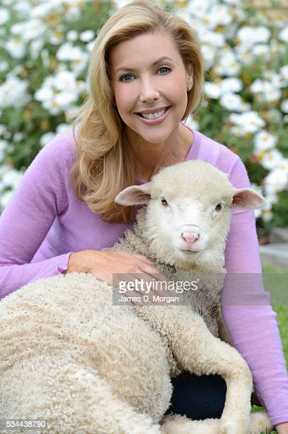 Catriona Rowntree poses with a sheep to celebrate her relationship with The Wool Industry on October 8 2012 in Sydney Australia