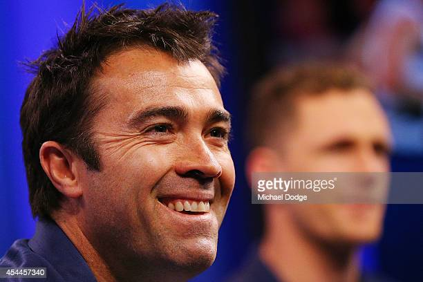 Cats coach Brad Scott and Joel Selwood of the Cats react to the media during the AFL Finals Series Launch at Fox Footy on September 1 2014 in...