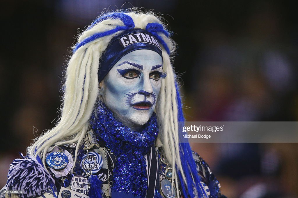 A Cats fan shows his support during the round 14 AFL match between the St Kilda Saints and the Geelong Cats at Etihad Stadium on June 25, 2016 in Melbourne, Australia.