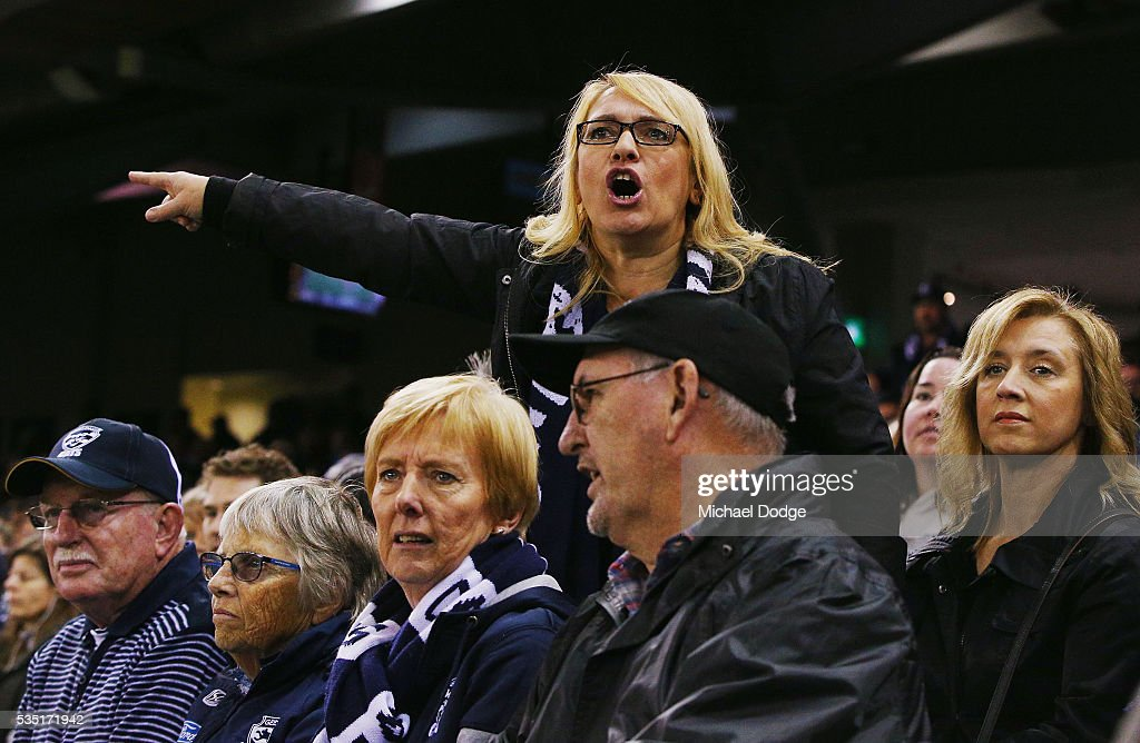 A Cats fan vents her anger during the round 10 AFL match between the Carlton Blues and the Geelong Cats at Etihad Stadium on May 29, 2016 in Melbourne, Australia.