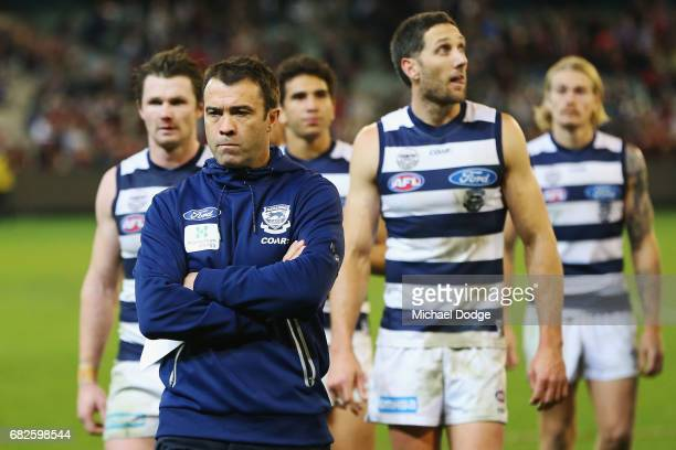 Cats head coach Chris Scott looks dejected after defeat during the round eight AFL match between the Essendon Bombers and the Geelong Cats at...