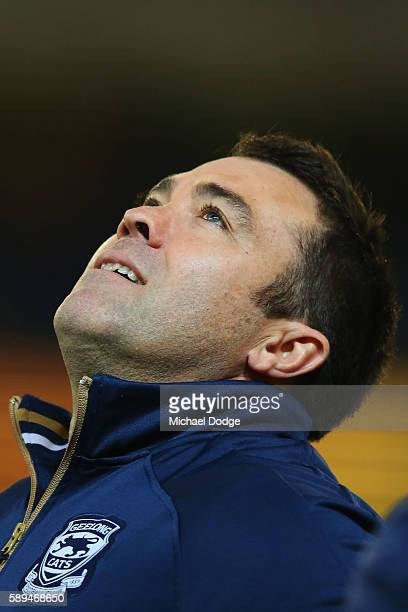 Cats head coach Chris Scott looks up the the heavens after winning during the round 21 AFL match between the Richmond Tigers and the Geelong Cats at...
