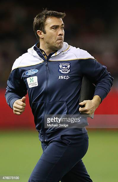 Cats head coach Chris Scott looks upfield during the round 10 AFL match between the Essendon Bombers and the Geelong Cats at Etihad Stadium on June 6...