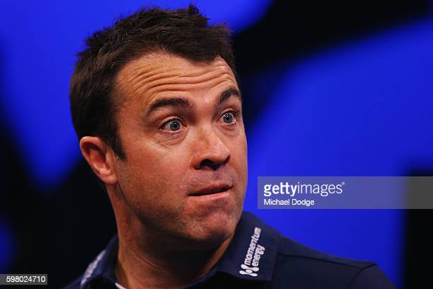 Cats head coach Chris Scott reacts while speaking to media during a Geelong Cats AFL media opportunity at Fox Studios on August 31 2016 in Melbourne...