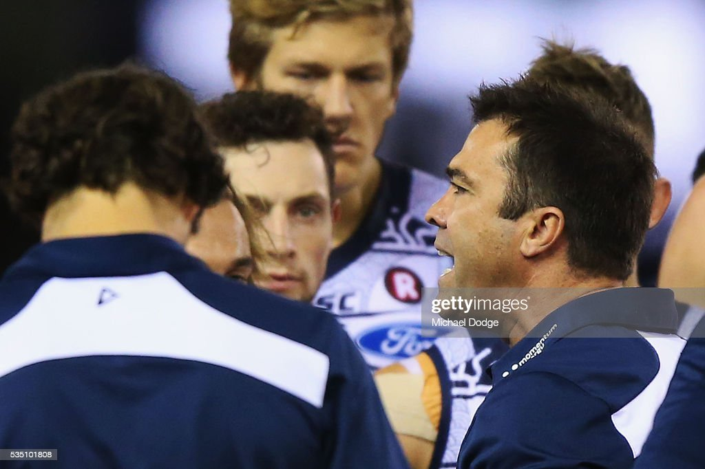 Cats head coach Chris Scott speaks angrily to his players at quarter time during the round 10 AFL match between the Carlton Blues and the Geelong Cats at Etihad Stadium on May 29, 2016 in Melbourne, Australia.