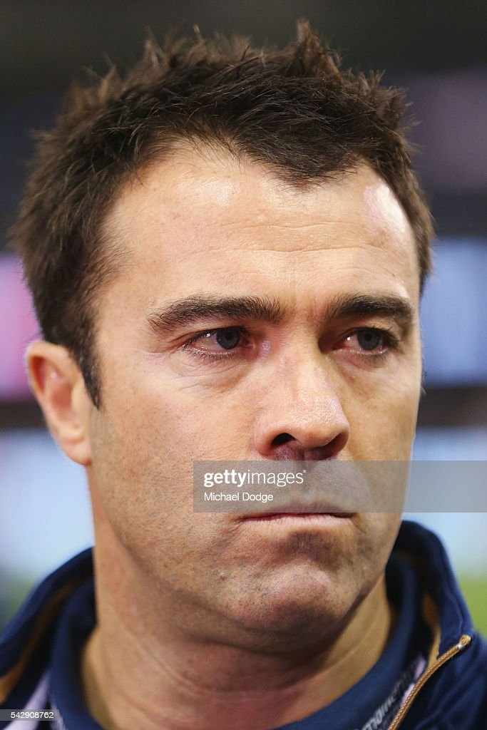 Cats head coach <a gi-track='captionPersonalityLinkClicked' href=/galleries/search?phrase=Chris+Scott+-+Australian+Rules+Football+Player&family=editorial&specificpeople=178256 ng-click='$event.stopPropagation()'>Chris Scott</a> speaks to media during the round 14 AFL match between the St Kilda Saints and the Geelong Cats at Etihad Stadium on June 25, 2016 in Melbourne, Australia.