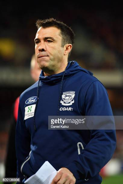 Cats head coach Chris Scott walks from the field after the round 18 AFL match between the Adelaide Crows and the Geelong Cats at Adelaide Oval on...