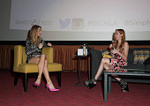 Catt Sadler and Brandi Cyrus speak on stage at The Grove on March 15 2014 in Los Angeles California