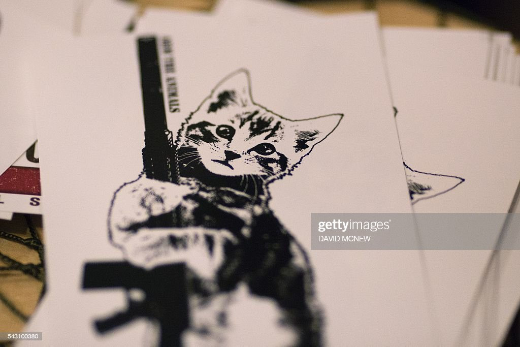 Cat-themed merchandise is displayed at the Arm the Animals exhibit booth at CatConLA, a convention to show cat-related products and ideas in art, design, and pop culture, on June 25, 2016 in Los Angeles, California. / AFP / DAVID