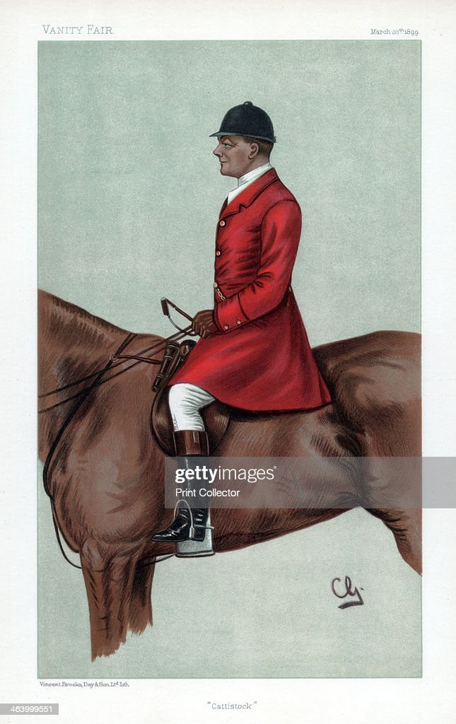 'Cattistock' 1899 John Hargreaves on horseback in hunting clothes Cartoon from Vanity Fair 30th March 1899