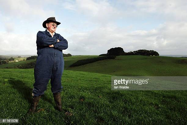 Cattle farmer Geoff Kay surveys his pasture land May 19 2008 in Smithton Australia The Produce of Heaven Company was launched in Launceston and it...