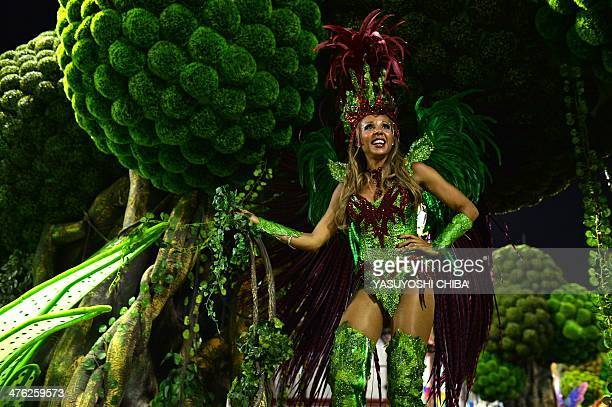 Catty Guetta wife of DJ and music producer David Guetta performs with the Grande Rio samba school during the first night of carnival parade at the...