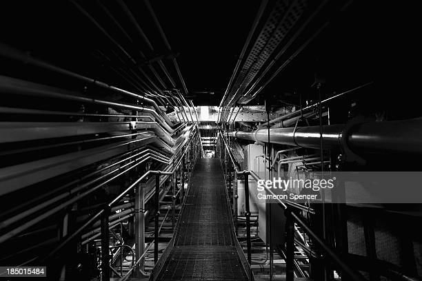 A catwalk containing power and lighting pipelines servicing the Concert Hall at the Sydney Opera House on September 20 2013 in Sydney Australia On...