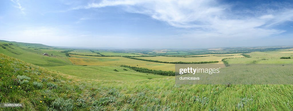 Caucas mountains panorama with general view over valey : Stock Photo